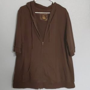 Maurices short sleeve hooded zip up